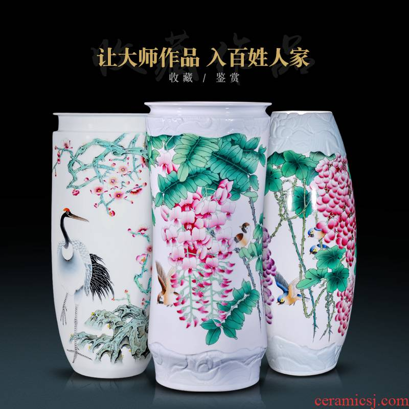 The Master of jingdezhen ceramic all hand - made pastel large vases, Chinese style household decorations collection vases, furnishing articles
