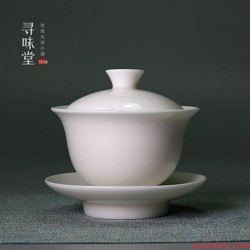 Submerged wood upscale suet jade porcelain tureen white porcelain manual three bowl of steaming tea for ivory white tea bowl as