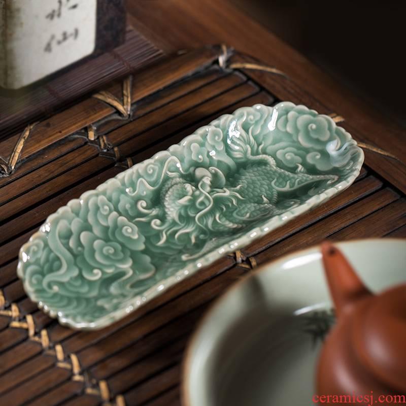 Owl up jingdezhen porcelain carving craft tea is TSP xiangyun kirin court wind classical tea tea taking