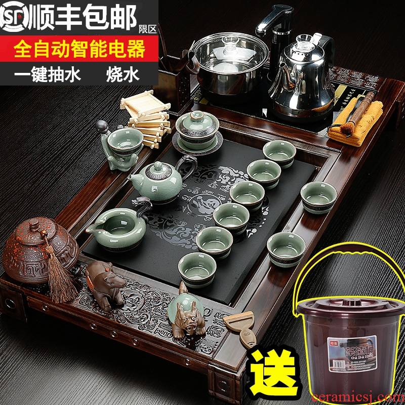 Qiao mu violet arenaceous kung fu tea set home ceramic electric magnetic furnace of a complete set of tea sets tea solid wood tea tray
