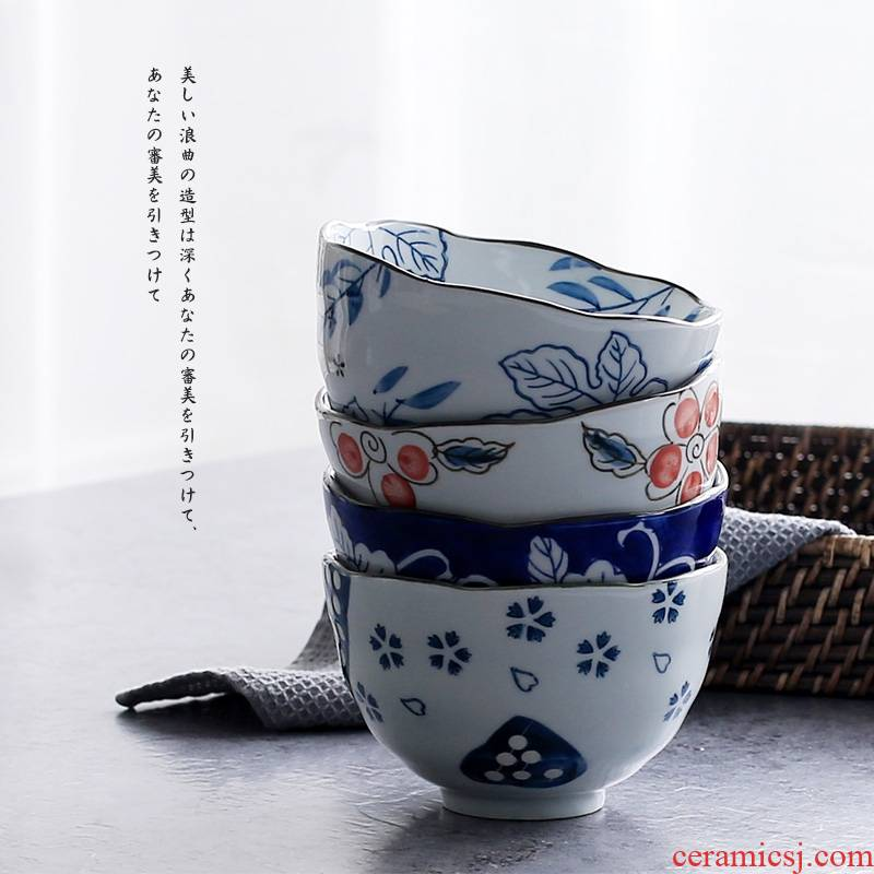 Qiao longed for the ceramic heat insulation deep bowl noodles bowl bowl under the glaze color wave 5 inch expressions using bowl of Japanese household tableware suit