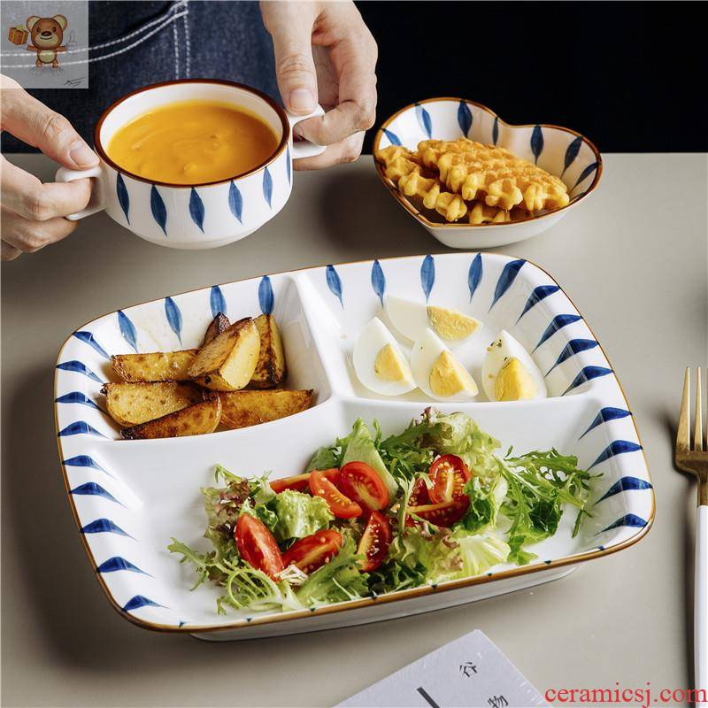 Japanese fixed plate tableware decorative furnishing articles kindergarten diet photo boy means bowl bowl household ceramics