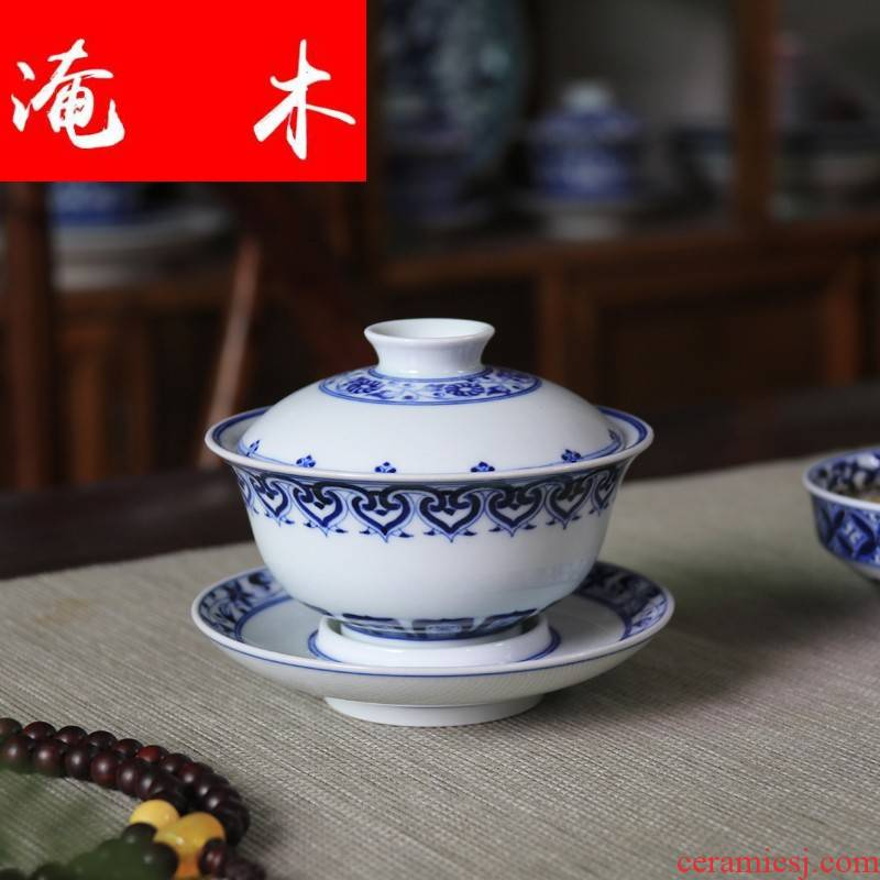 Submerged wood defect of hand - made porcelain treasure phase tureen jingdezhen ceramic cups archaize under glaze color manual kung fu tea set