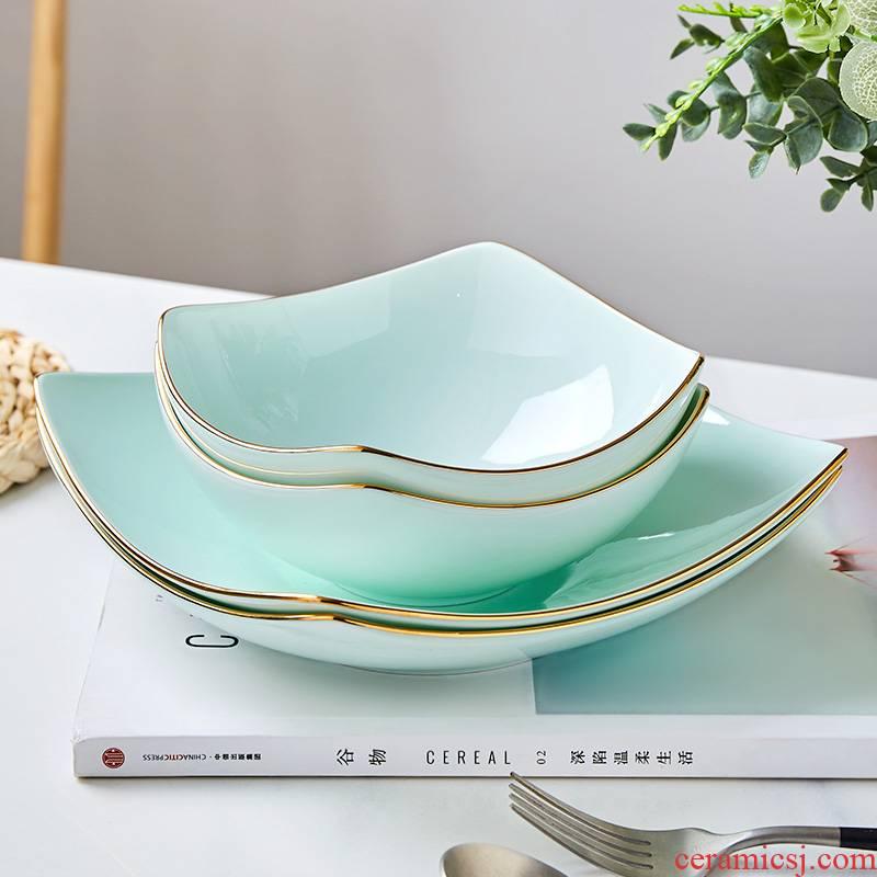 Celadon dish dish dish creative household utensils contracted light of key-2 luxury square up phnom penh dish ceramic pasta salad plates