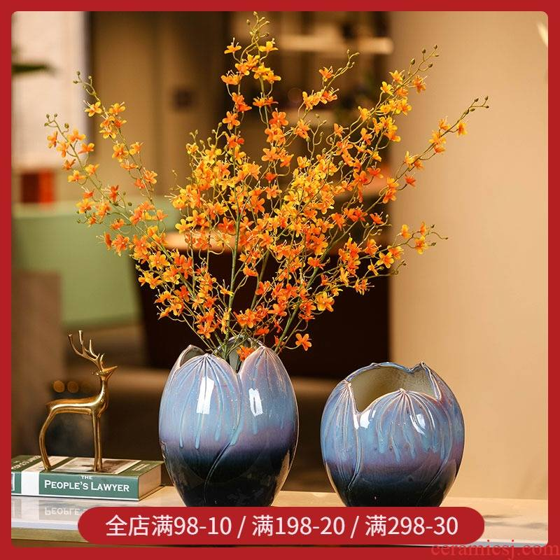 Ceramic vase Nordic contracted creative flower arrangement is an art that sitting room porch decoration flower modelling geometry table sample