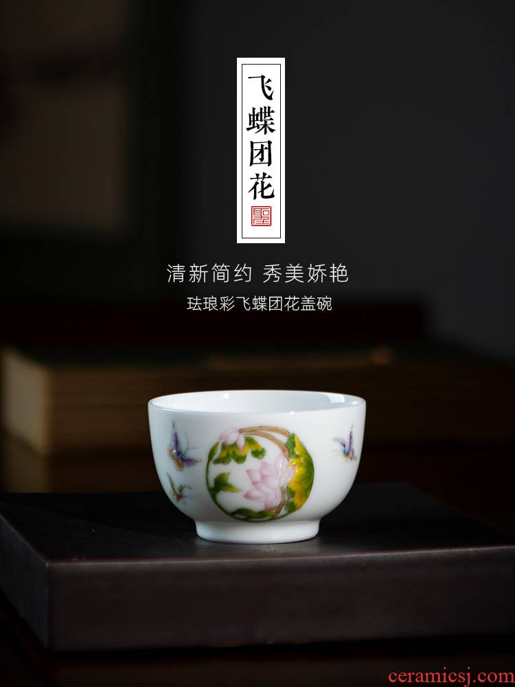 Santa teacups hand - made ceramic kungfu colored enamel flying butterfly sees sample tea cup single cup all hand of jingdezhen tea service