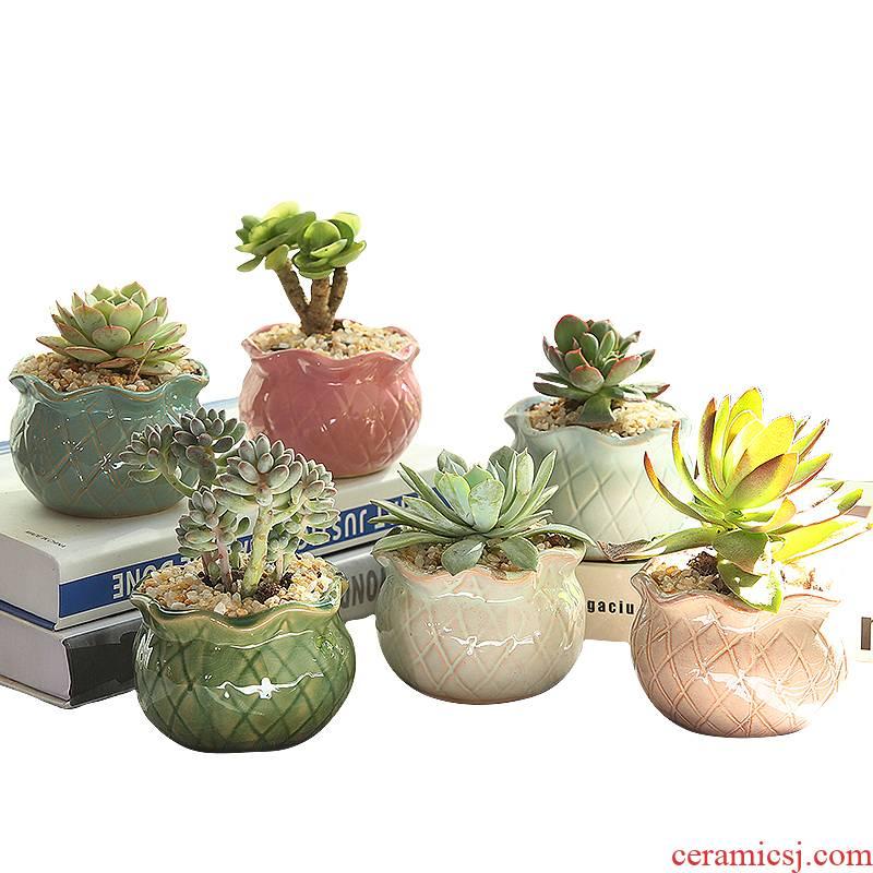 Fleshy coarse pottery flowerpot creative move combination suit meat meat the plants breathe freely small Fleshy flower pot