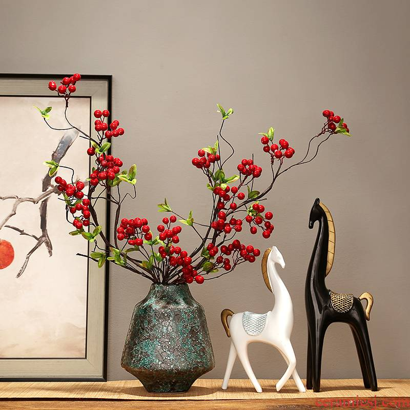 Jingdezhen ceramics vase simulation flower, dried flower adornment of modern home living room TV cabinet porch place