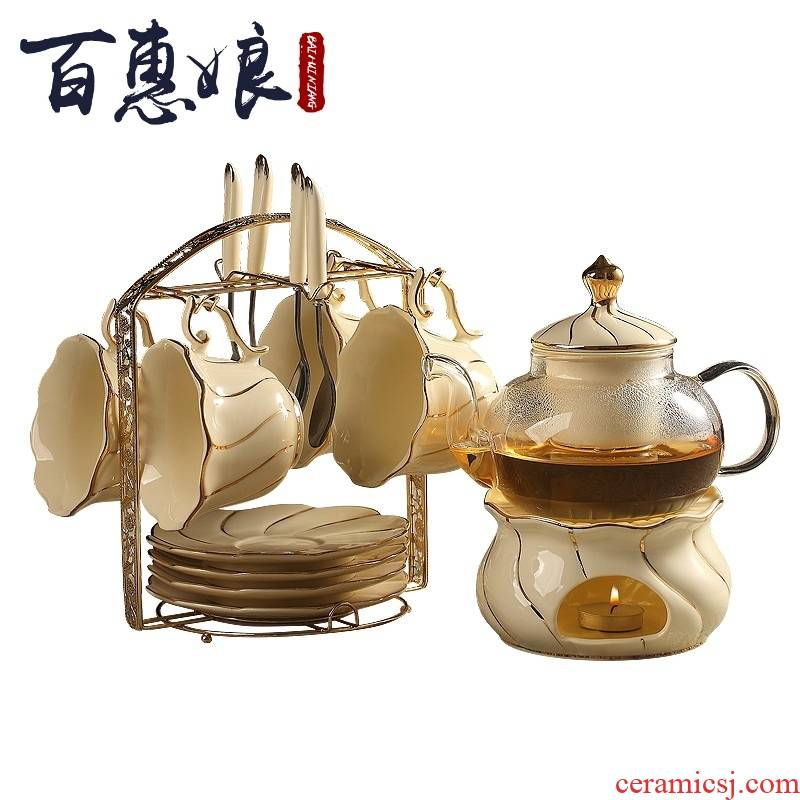 (mother cooked fruit tea glass pot of household heating the teapot tea tea set European ceramics in the afternoon