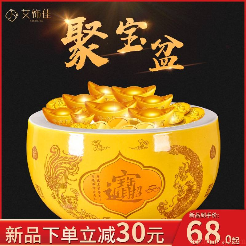 Cornucopia in plutus furnishing articles yellow feng shui shops opening gifts home sitting room porch prosperous wealth ceramics decoration