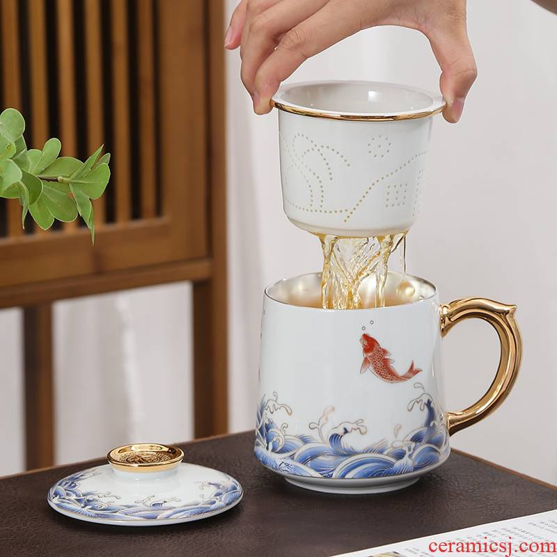 Ceramic tea cup cup with cover mark cup high - grade office of 999 sterling silver cup filtration separation of tea cups