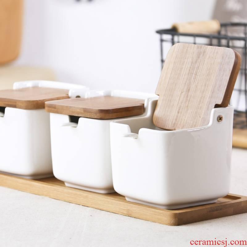 Qiao longed for household ceramics put salt seasoning box with a cover pot seasoning sauce pot sugar pot seasoning suit salt group