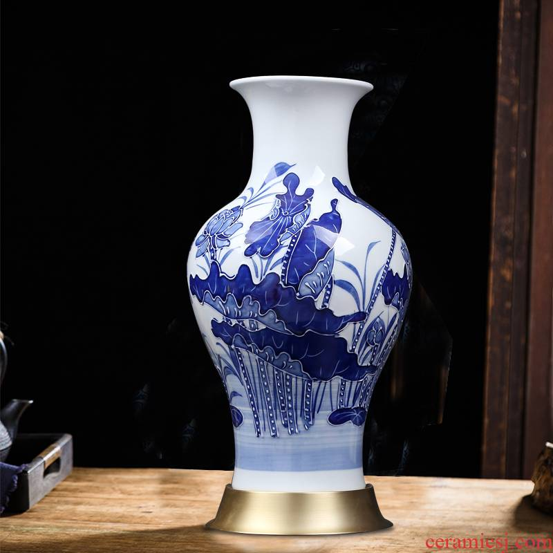 Jingdezhen blue and white vase of new Chinese style household decorates sitting room porch lotus manually fish bottle ceramics furnishing articles