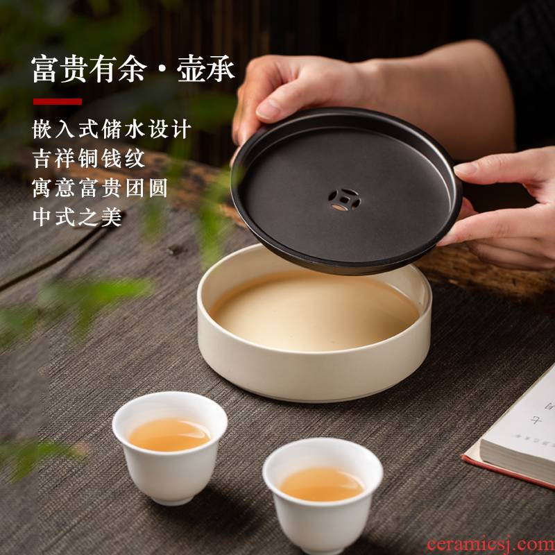 Jingdezhen ceramic pot of bearing dry terms Taiwan kungfu tea accessories small round tea sea copper water storage tray