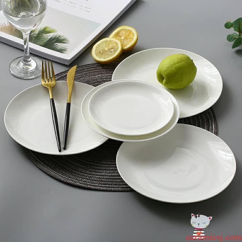 Utsuwa son home ipads porcelain tableware 6 inches deep dish dish dish disc plate ipads plate FanPan pure white ceramic plate