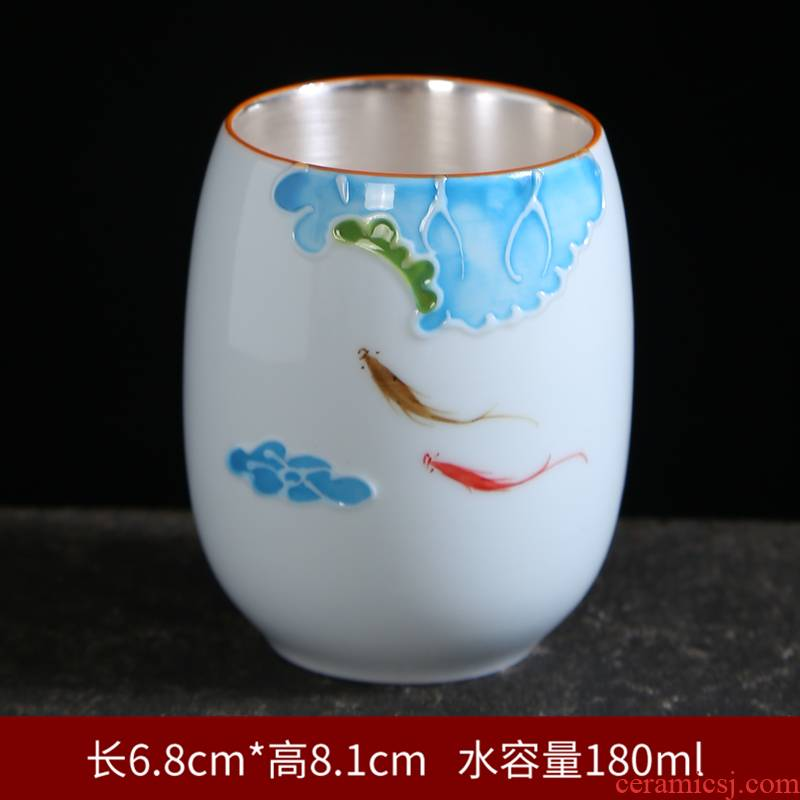 Tasted silver gilding hand - made ceramic cups of blue and white porcelain kung fu single CPU master cup tea sets tea cups bowl with tea