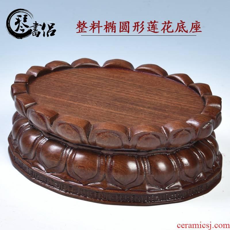 Pianology picking guanyin Buddha lotus pedestal FoTai heightening furnishing articles of handicraft bracket solid wood oval lotus