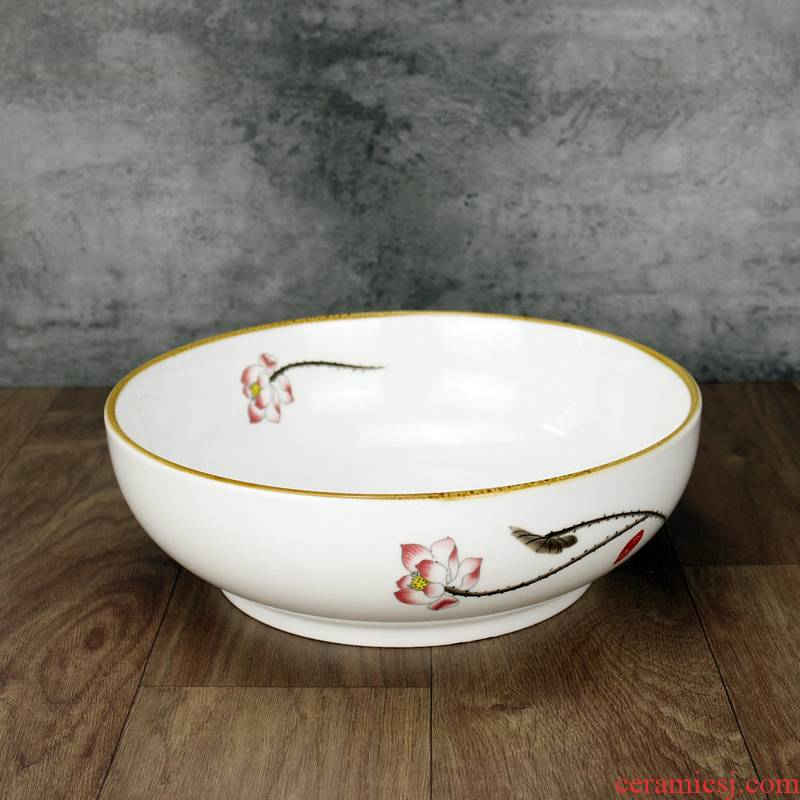 Ceramic bowl lotus pickled fish bowl restaurant tableware microwave boiled fish soup basin home extra large never dishes