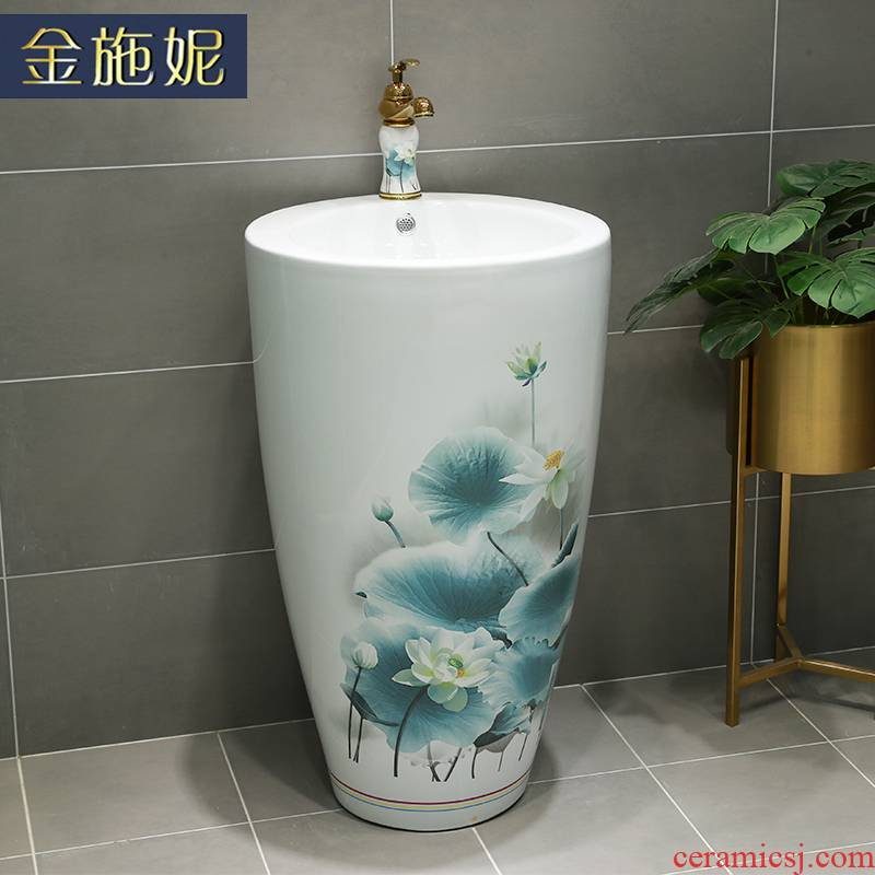 Pillar basin ceramic household lavabo hotel bathroom floor type lavatory basin of the balcony to the pool that wash a face