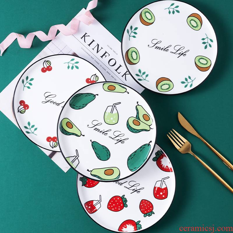 The Nordic red ceramic household food dish plate individuality is western food steak knife and fork dish tableware suit creative breakfast tray