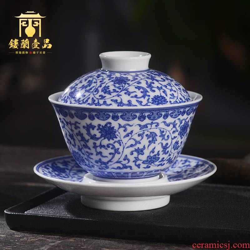 Arborist benevolence blue tie up lotus flower only three tureen jingdezhen ceramics all hand - made kung fu tea bowl with cover a single
