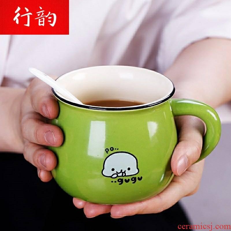 Line rhyme tea home han edition ceramic keller cup of milk tea drinks the children a bigger spoon, coffee, tea