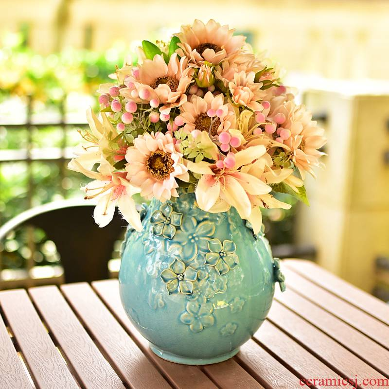 Manual blue vase ceramic living room TV cabinet table decorations furnishing articles Nordic contracted simulation flowers, dried flowers, flower arrangement