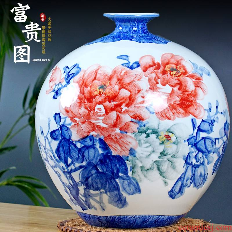 Jingdezhen ceramic hand - made blooming flowers vase mesa place to live in the living room a study ancient frame ornaments