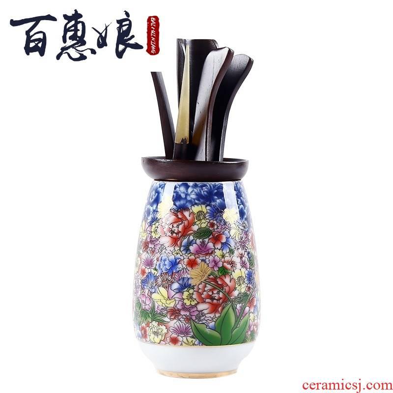 The Six gentleman 's suit (niang colored enamel porcelain tea chicken wings wood ebony wood kung fu tea accessories group