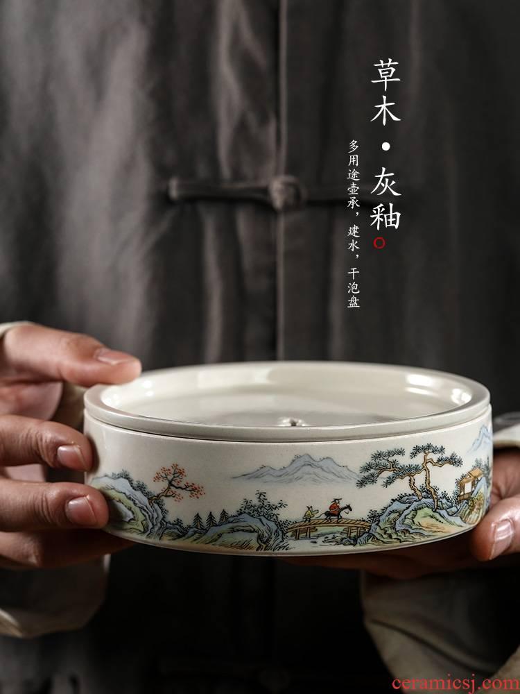 Plant ash glaze POTS ChengChun manual dry tea tray sets jingdezhen hand - made scenery figure water tea on tea table accessories