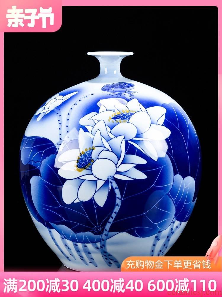 Jingdezhen ceramic hand - made of blue and white porcelain vase pomegranate bottle arranging flowers sitting room home decoration crafts porcelain furnishing articles