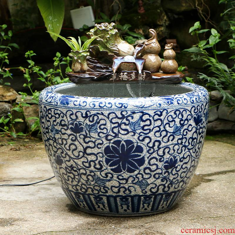 Jingdezhen ceramic water goldfish bowl plutus humidifying sitting room aquarium furnishing articles furnishing articles household geomantic round the tortoise cylinder