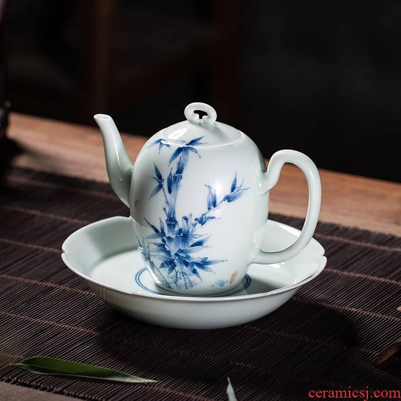 The Owl up jingdezhen porcelain hand - made tea service manual ceramic elegant bamboo beauty shoulder the teapot tea kungfu tea set