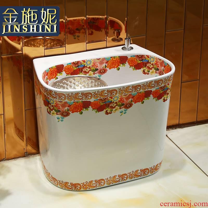 Gold cellnique wash mop pool bathroom ceramic flower POTS mop pool balcony kitchen sink mop pool