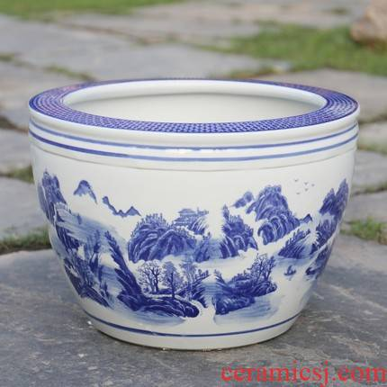 Refers to flower pot water lily bowl lotus basin cylinder hydroponic cycas blue and white porcelain basin courtyard rich tree aquarium tank lotus leaf