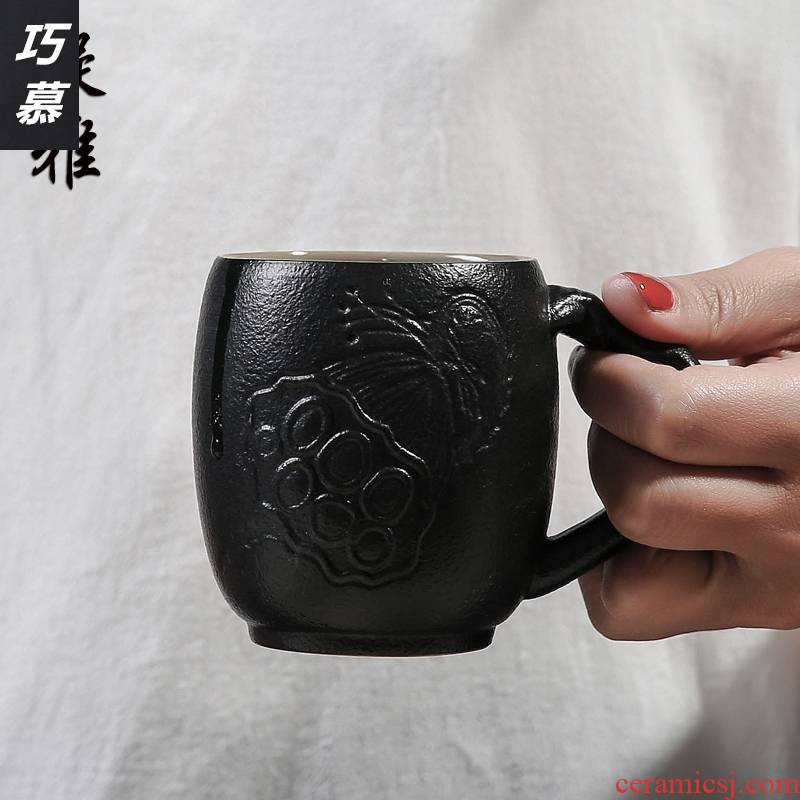 Qiao mu to restore ancient ways with handle ideas ceramic cups of black white coarse pottery master cup single home tea cups of tea