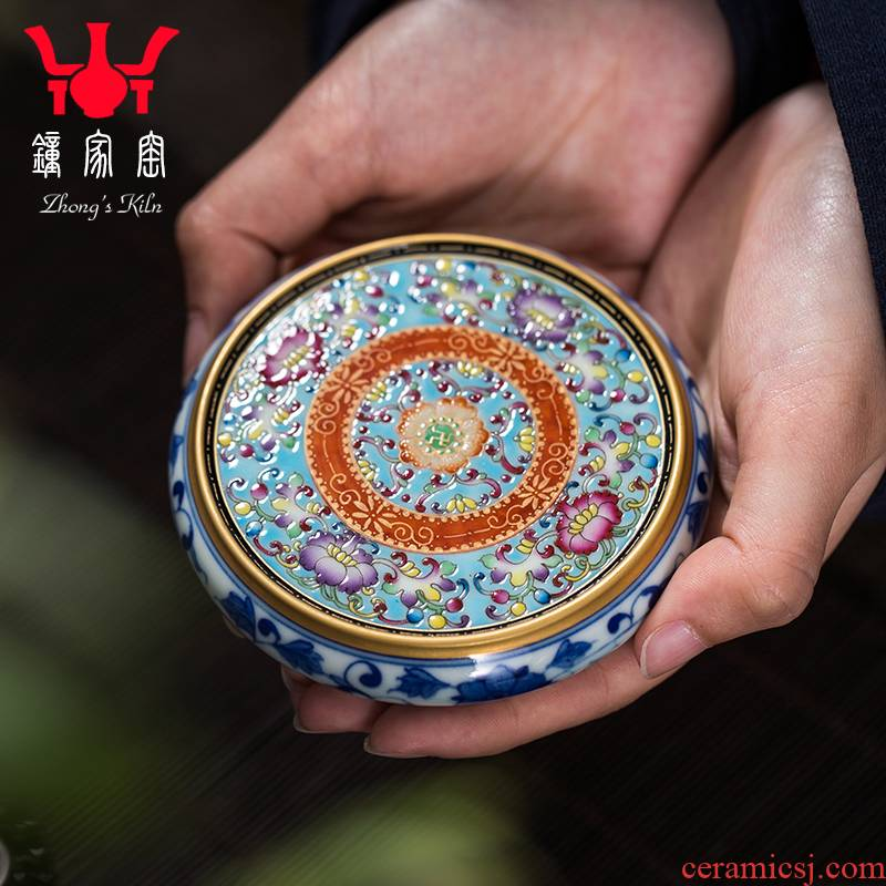 Clock home jingdezhen up hand - made bound branch lines colored enamel covered buy checking tea accessories lid are it cover pad