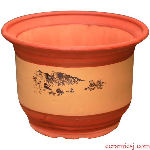 Queen clearance king red clay coarse sand flowerpot ceramics made of baked clay pottery pot clay mud POTS with tray was home