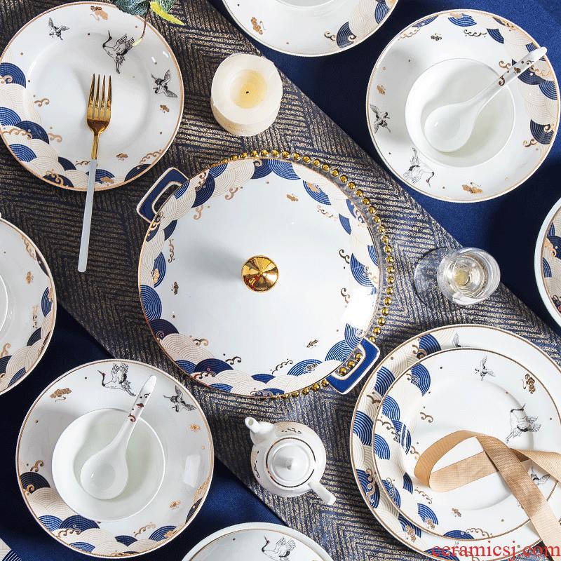 Jingdezhen Chinese wind creative dishes suit household portfolio ipads China up phnom penh dishes light key-2 luxury of modern ceramic tableware