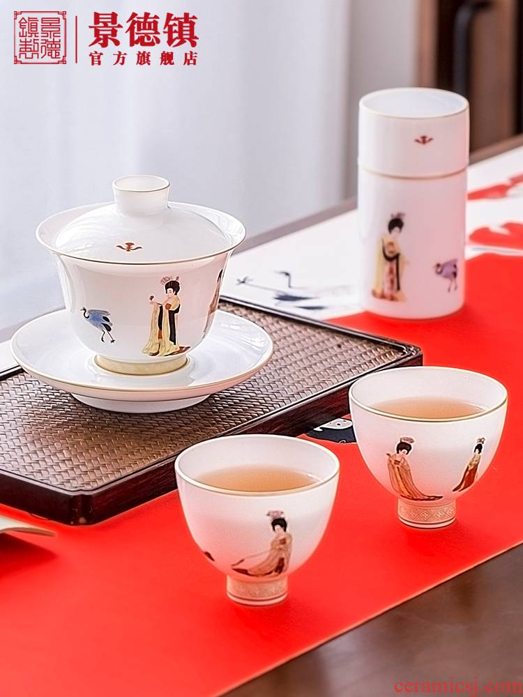 Jingdezhen flagship store manual hand - made thin foetus tureen of pottery and porcelain teacup single tea tea set suits for domestic high - grade
