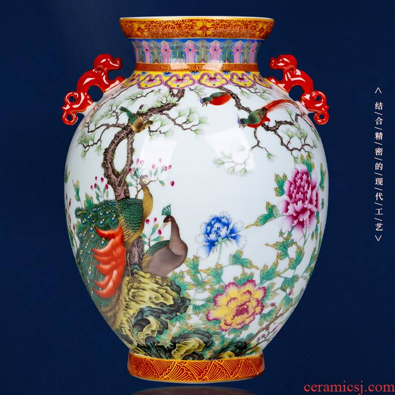 Jingdezhen ceramics vase imitation the qing qianlong ears peacock enamel bottles of Chinese style household porch of decorations