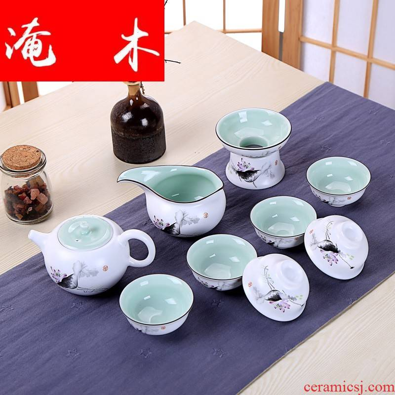 Submerged wood jingdezhen ceramic coloured drawing or pattern kung fu tea set inferior smooth up sample tea cup lid bowl bowl with gifts