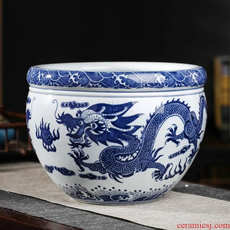Jingdezhen ceramic blue aquarium large fish basin bowl lotus lotus lotus tortoise cylinder goldfish bowl sitting room