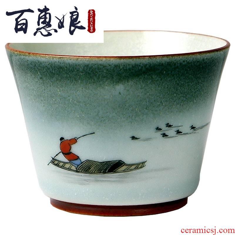 (niang jingdezhen rain dai li master cup hand - drawn the original coarse pottery cup variable move tea cups