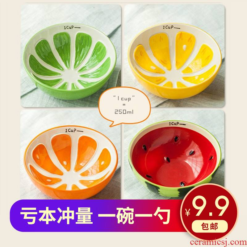 Japanese fruit watermelon ceramic tableware dishes suit household lovely creative move individual eat bowl dish the spoon