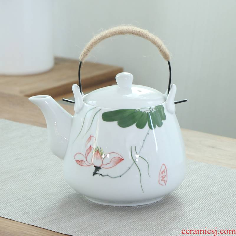 Hand - made of high - capacity ceramic teapot with filter 1 liter restaurant high - temperature teapot iron kettle mobile home