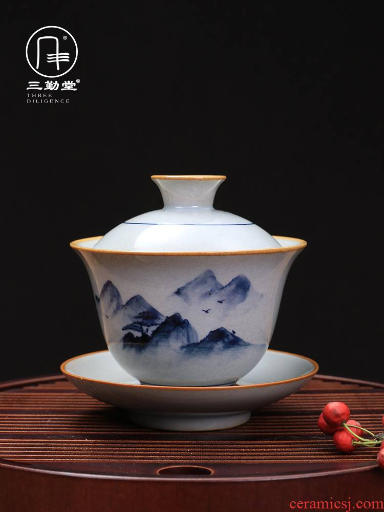 Three frequently hall hand - made porcelain cup just tureen jingdezhen ceramic cups kung fu tea set large tea, single