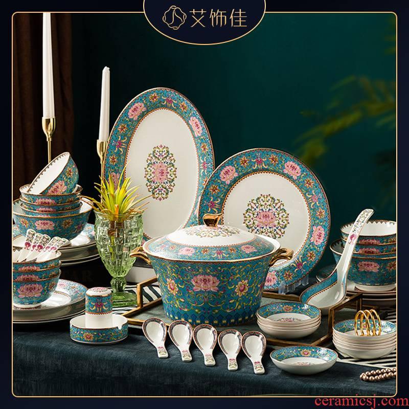 Jingdezhen ceramic bowl dish combination of household of Chinese style 58 head enamel Mosaic gold edge ipads porcelain tableware upscale gift company