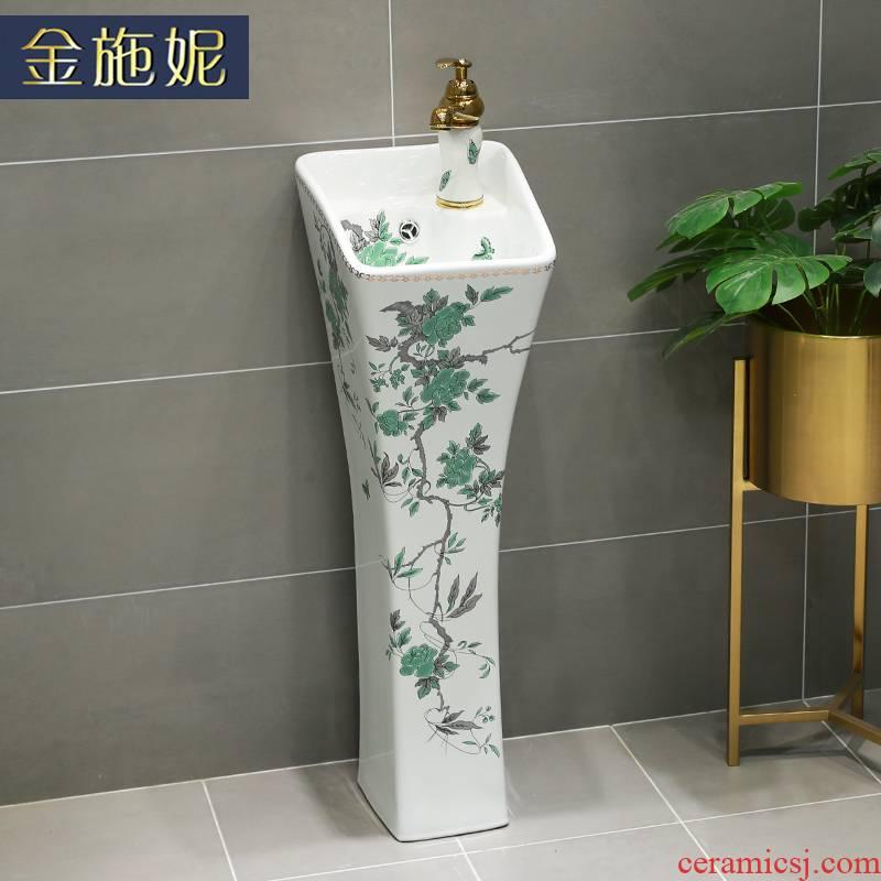 Gold cellnique ceramics column vertical integrated basin floor type lavatory toilet sink sink on the floor