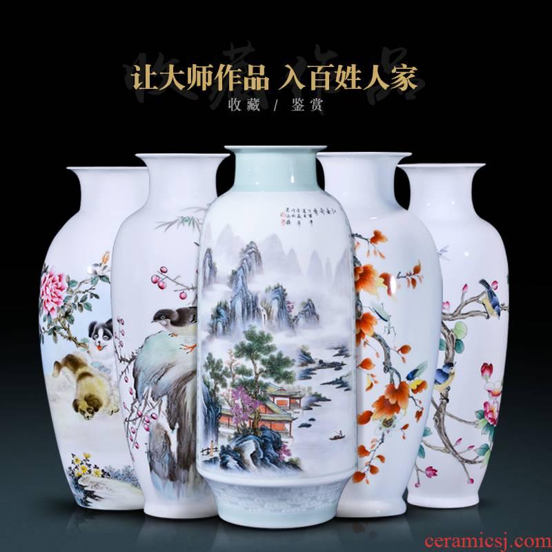 Jingdezhen ceramics powder enamel flower arranging large vases, new Chinese style porch sitting room the bedroom TV ark adornment furnishing articles
